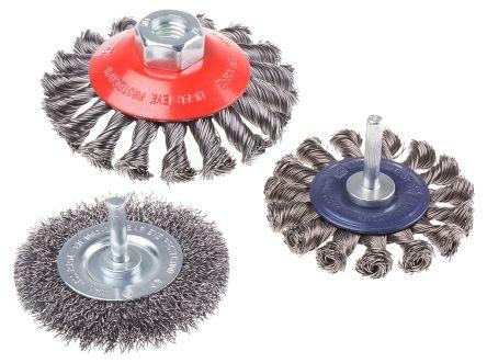 RS PRO Steel Abrasive Circular Brush, 12500 (100 mm Brush) rpm, 20000 (75 mm Brush) rpm, 4500 (75 mm Brush) rpm, 75 mm,