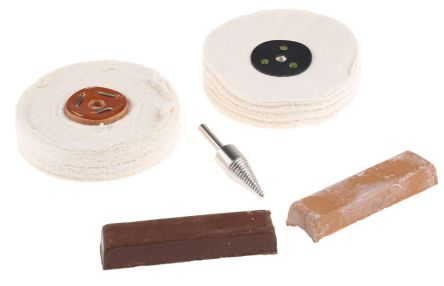 RS PRO 115 (x2)g Plastic Polishing Kit Containing 100 mm x 2-Section Stitched Hard Buff, 100 mm x 50 mm Loose Fold Soft