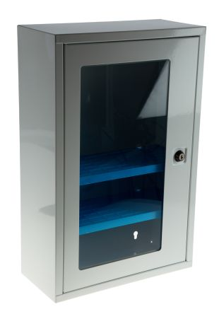 RS PRO Grey Defibrillator Cabinet Wall Cabinet 460 mm, X 300mm, X 140mm