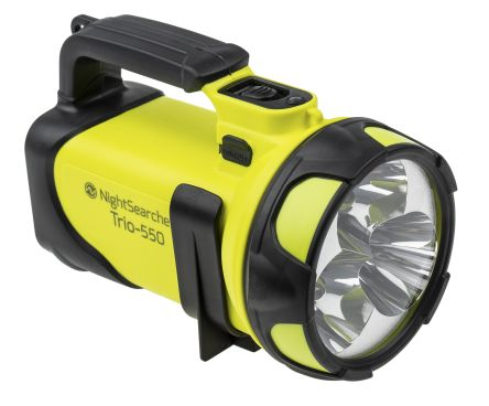 Nightsearcher TRIO-550 Rechargeable, LED Handlamp Water Resistant, 600 m Beam 12 V dc