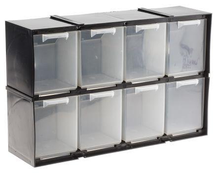 RS PRO Black, Plastic 8 Drawer Storage Unit, 208mm x 325mm x 90mm