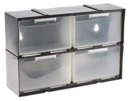 g0104 rs pro rs pro black plastic 4 drawer storage unit transparent drawers 208mm x 90mm x. Black Bedroom Furniture Sets. Home Design Ideas