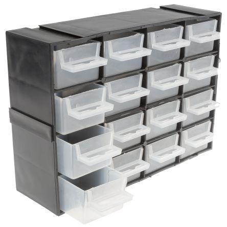 Rs Pro Black Plastic 16 Drawer Storage Unit Transpa Drawers 160mm X 70mm