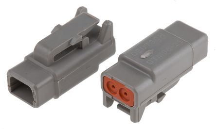Deutsch DTM Series, 1 Row 2 Way Plug Connector