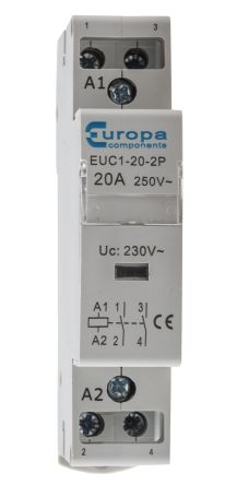 Euc1 20 2p europa 2 pole contactor 2no 20 a 4 kw 230 v ac coil main product asfbconference2016 Choice Image