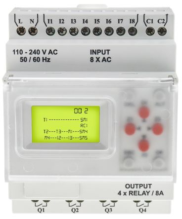 RS PRO Logic Module, 110 → 240 V ac Digital, Relay, 8 x Input, 4 x Output With Display
