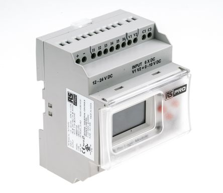 RS PRO Logic Module, 12 → 24 V dc Digital, Relay, 8 x Input, 4 x Output With Display