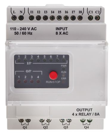 RS PRO Logic Module, 110 → 240 V ac Digital, Relay, 8 x Input, 4 x Output Without Display