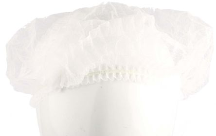 RS PRO Disposable White Hair Cap, One Size, for Food Industry, Industrial Use