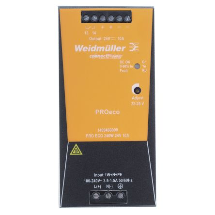 Weidmuller, PRO ECO DIN Rail Power Supply, 24V dc Output Voltage, 10A  Output Current