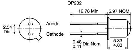 890nm 2-pin Trou Traversant TO-46 Optek OP232 Ir LED
