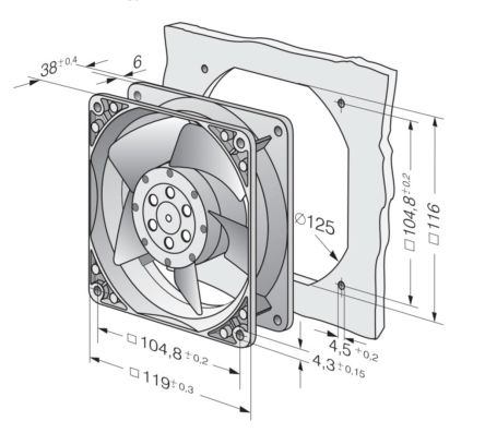 ebm-papst 4000n series axial fan, 119 x 119 x 38mm, 80m�/