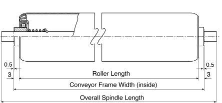Interroll Zinc Plated Steel Round Conveyor Roller 25mm x 100mm