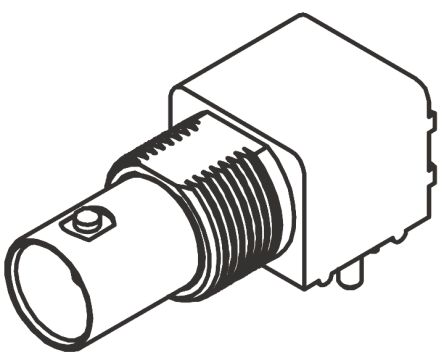BNC Series Right Angle 75O PCB Mount Bulkhead Fitting BNC Connector, jack, Nickel, Through Hole Termination product photo