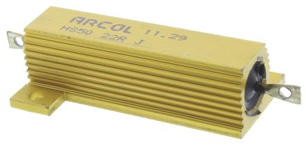Arcol HS50 Series Aluminium Housed Axial Wire Wound Panel Mount Resistor, 22Ω ±5% 50W