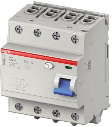 4P 25 A, Instantaneous RCD Switch, Trip Sensitivity 30mA SMISSLINE F404