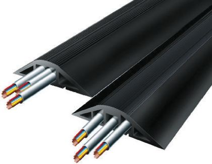 Vulcascot Cable Cover, 16 x 14 + 16 x 18mm (Inside dia.), 120 (Bottom) mm, 40 (Top) mm x 4.5m, Black, 3 Channels