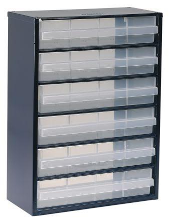 Raaco Blue Steel 6 Drawer Storage Unit Transpa Drawers 417mm X 306mm