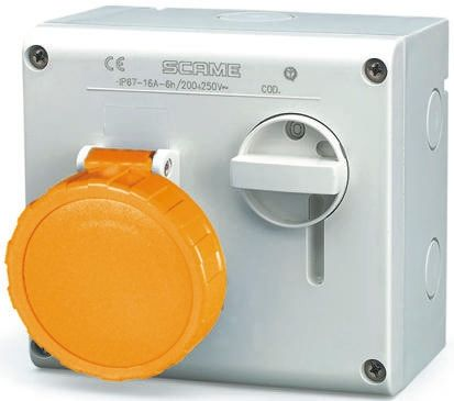 RS PRO Right Angle Switchable IP66, IP67 Industrial Interlock Socket 2P+E, Earthing Position 4h, 16A, 130 V