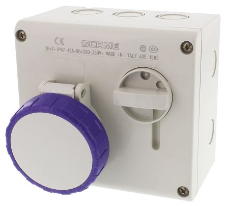Right Angle Switchable IP66, IP67 Interlocked Socket 2P+E, Earthing Position 6h, 16A, 250 V product photo