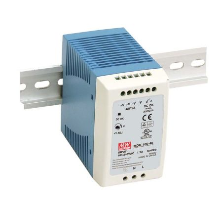 Power Supply; AC-DC; 24V; 4A; 100-264V In; Enclosed; DIN; PFC; Industrial; 96W; MDR Series