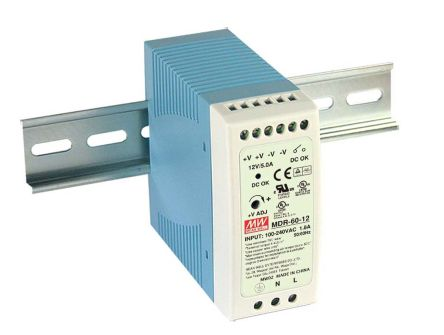 Mean Well DIN Rail Panel Mount Power Supply, 12V dc Output Voltage, 5A output current