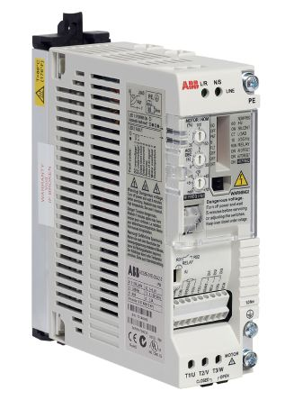 ABB ACS55 Inverter Drive 0.37 kW with EMC Filter, 1-Phase In, 200 → 240 V, 2.2 A, 130Hz Out, IP20