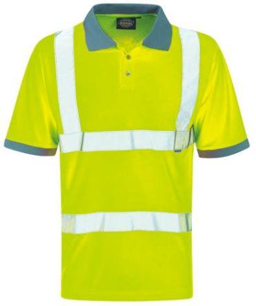 Dickies Yellow Men Hi Vis Polo Shirt, XL