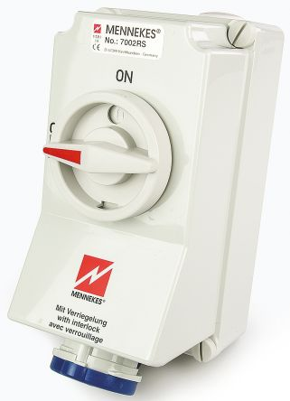MENNEKES Switchable IP67 Industrial Interlock Socket 2P+E, 63A, 230 V