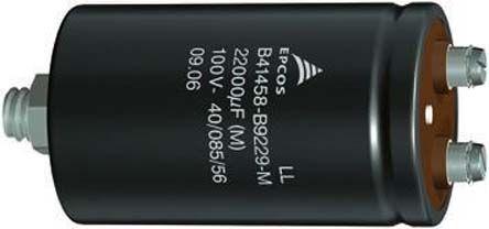 EPCOS 22000μF 100V dc Aluminium Electrolytic Capacitor, Screw Terminal 76.9 (Dia.) x 105.7mm +105°C 76.9mm