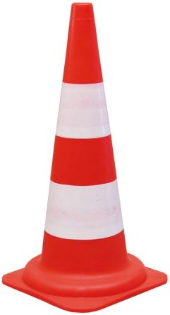 RS PRO,No Red, White 490mm PP Traffic Cone