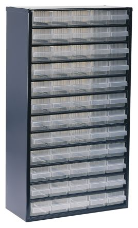 Raaco Blue, Steel 60 Drawer Storage Unit, 552mm x 306mm x 150mm