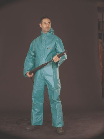42 → 44in Men's Green Acid Resistant, Alkali Resistant, Oil Resistant, Solvent Resistant Nylon Coverall