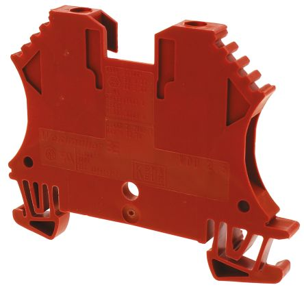 Weidmuller Feed Through Terminal Block, WDU Series , 2.5mm², 800 V, 32A, Screw Down Termination, Red, Single Level