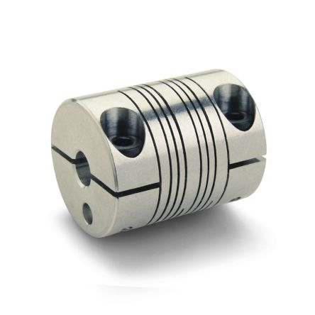 Aluminium Flexible Beam Coupling, PCMR25-6-6-A, Bore A 6mm Bore B 6mm Clamp product photo