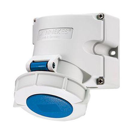 9301rs mennekes ip67 blue wall mount 3p industrial power socket rh uk rs online com Mennekes 16A Mennekes 250V Blue