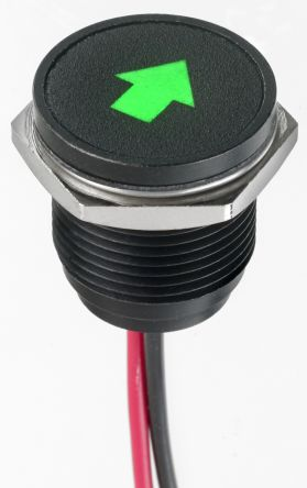 Flush Indicator Panel Mount, 16 Dia.mm Mounting Hole Size, Green LED, Lead Wire Termination, 10 mm Lamp Size, 12 V dc