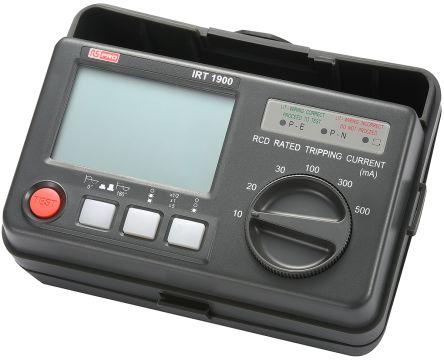 RS PRO IRT1900 Digital RCD Tester 10 mA, 20 mA, 30 mA, 100 mA, 300 mA, 500 mA AC RS Calibration
