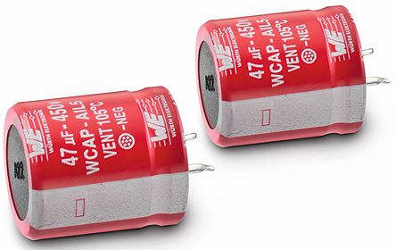Wurth Elektronik 220μF 450V dc Aluminium Electrolytic Capacitor, Through Hole 30 (Dia.) x 31mm +105°C 30mm 10mm