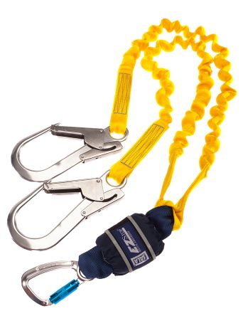 2m Fall Arrest Shock Absorbing Lanyard Twist Lock Karabiner Twin product photo