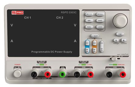 RS Pro Programmable Linear Power Supply Bench Power Supply, 3 Output 2 x 0 → 32 V, 2.5 → 5 V 3.2A 220W