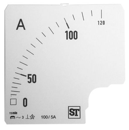 Sifam Tinsley Analogue Ammeter Scale, 120A, for use with 96 x 96 Analogue Panel Ammeter