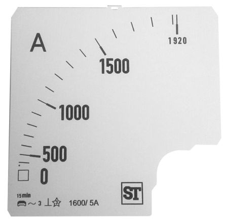 Sifam Tinsley Analogue Ammeter Scale, 1.92kA, for use with 96 x 96 Analogue Panel Ammeter