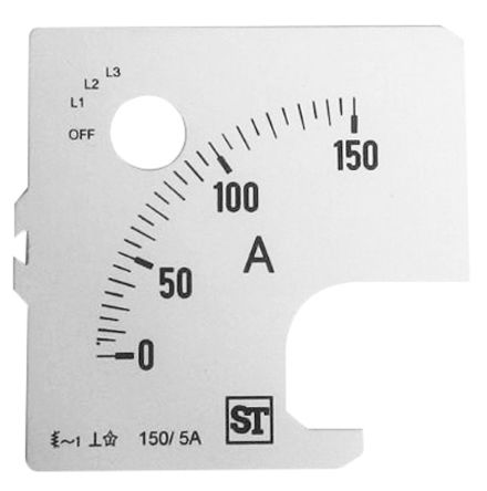 Sifam Tinsley Analogue Ammeter Scale, 150A, for use with 72 x 72 Analogue Panel Ammeter