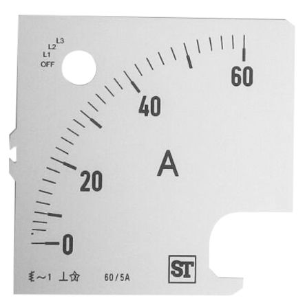 Sifam Tinsley Analogue Ammeter Scale, 60A, for use with 96 x 96 Analogue Panel Ammeter