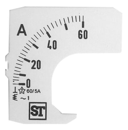 Sifam Tinsley Analogue Ammeter Scale, 60A, for use with 48 x 48 Analogue Panel Ammeter