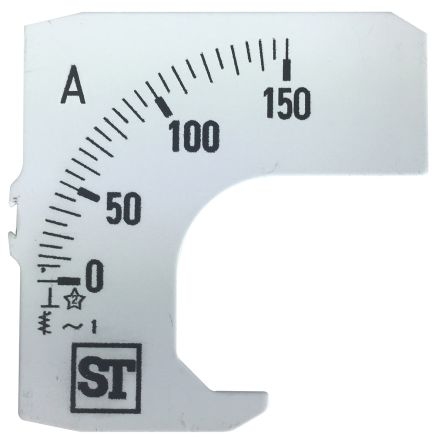 Sifam Tinsley Analogue Ammeter Scale, 150A, for use with 48 x 48 Analogue Panel Ammeter
