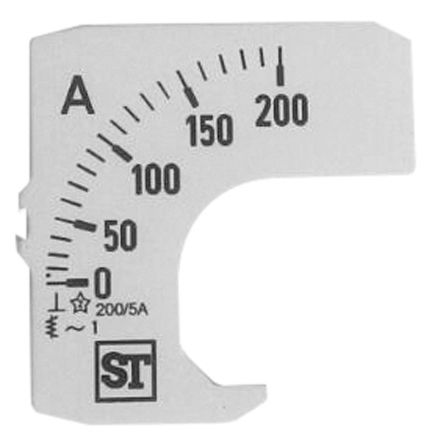 Sifam Tinsley Analogue Ammeter Scale, 200A, for use with 48 x 48 Analogue Panel Ammeter