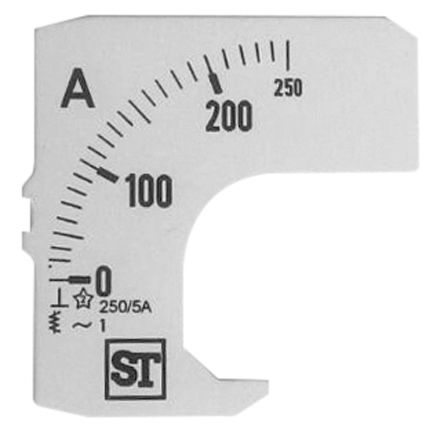 Sifam Tinsley Analogue Ammeter Scale, 250A, for use with 48 x 48 Analogue Panel Ammeter