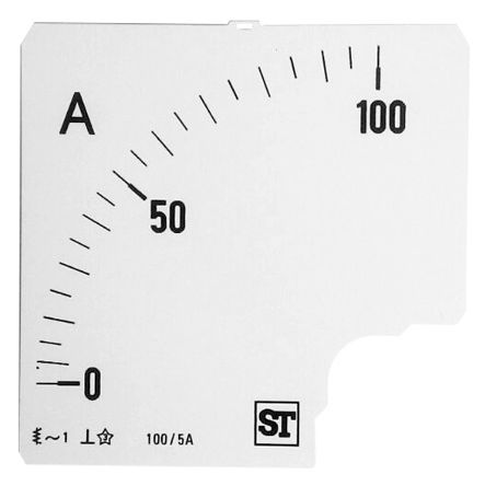 Sifam Tinsley Analogue Ammeter Scale, 100A, for use with 96 x 96 Analogue Panel Ammeter